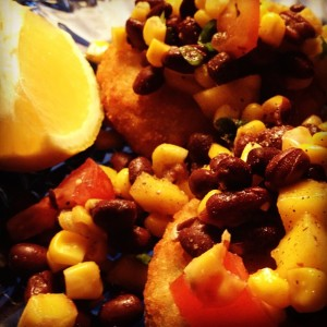 Crab Cakes with Black Bean and Mango Salsa